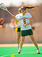 25 April 2009: University of Vermont Catamount midfielder Allison Pfohl, a Freshman from Niskayuna, NY, in action against the Stony Brook University Seawolves at Moulton Winder Field in Burlington, Vermont. The Lady Cats defeated the visiting Seawolves 19-11 on Seniors Day, Vermont's last home game of the 2009 season. Mandatory Photo Credit: Ed Wolfstein Photo