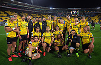 The Hurricanes pose for a team photo after the Super Rugby Aotearoa match between the Hurricanes and Chiefs at Sky Stadium in Wellington, New Zealand on Saturday, 8 August 2020. Photo: Dave Lintott / lintottphoto.co.nz