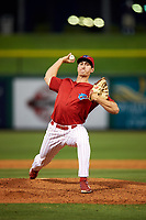 Clearwater Threshers relief pitcher Jacob Waguespack (49) delivers a pitch during a game against the Palm Beach Cardinals on April 14, 2017 at Spectrum Field in Clearwater, Florida.  Clearwater defeated Palm Beach 6-2.  (Mike Janes/Four Seam Images)