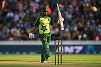 20th December 2020; Hamilton, New Zealand;  Mohammad Hafeez celebrates 50 runs, New Zealand Black Caps versus Pakistan, International Twenty20 Cricket. Seddon Park, Hamilton, New Zealand.
