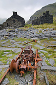 Ruins of miners' cottages in the abandonned Cwmorthin slate quarry, high above the Croesor Valley and Tan y Grisiau in the Snowdonia National Park.