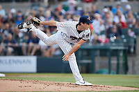 Somerset Patriots starting pitcher Ken Waldichuk (26) follows through on his delivery against the Altoona Curve at TD Bank Ballpark on July 24, 2021, in Somerset NJ. (Brian Westerholt/Four Seam Images)