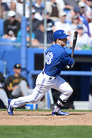 Toronto Blue Jays infielder Steve Tolleson (18) during a spring training game against the Pittsburgh Pirates on February 28, 2014 at Florida Auto Exchange Stadium in Dunedin, Florida.  Toronto defeated Pittsburgh 4-2.  (Mike Janes/Four Seam Images)