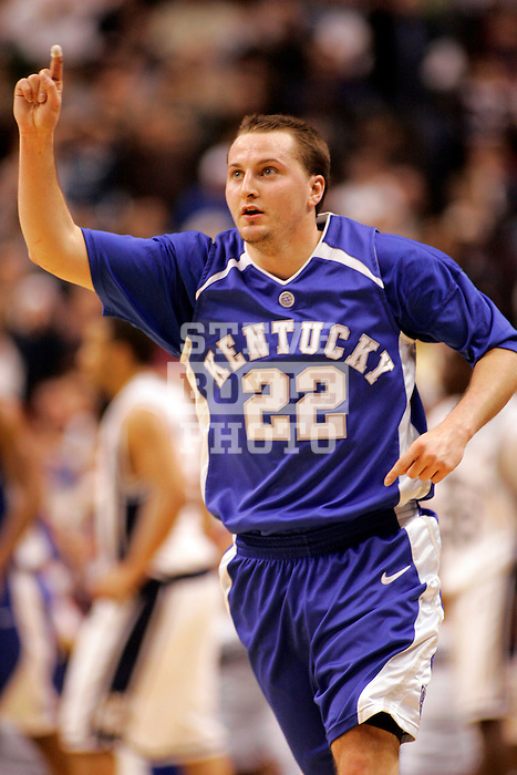 Kentucky guard Patrick Sparks (22) reacts to scoring a basket.  Connecticut defeated Kentucky 87-83 in the second round of the NCAA Tournament  at the Wachovia Center in Philadelphia, Pennsylvania on March 19, 2006.