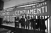 - Innocenti Leyland car factory in Lambrate occupied by workers for protest against dismissal (Milan, 1975)....- fabbrica di automobili Innocenti Leyland di Lambrate ocupata dagli operai  per protesta contro i licenziamenti  (Milano, 1975)