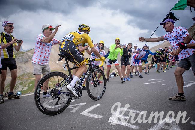 Yellow Jersey Julian Alaphilippe (FRA/Deceuninck Quick Step) up the Col du Galibier (HC/2622m/23km@5.1%)<br /> <br /> Stage 18: Embrun to Valloire (208km)<br /> 106th Tour de France 2019 (2.UWT)<br /> <br /> ©kramon