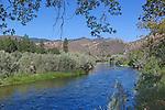 The upper Klamath River near Tree of Heaven Campground and Yreka, California as it runs through the Siskiyou Mountains toward the Pacific Ocean near at Requa, California near the town of Crescent City. California.