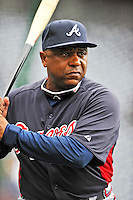 24 September 2011: Atlanta Braves first base coach Terry Pendleton taps out grounders prior to a game against the Washington Nationals at Nationals Park in Washington, DC. The Nationals defeated the Braves 4-1 to even up their 3-game series. Mandatory Credit: Ed Wolfstein Photo