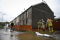 Flooding effected the villages of Aberdulais and Tonna in the Neath Valley after Storm Callum brought heavy rain and wind to the area cuasing the River Neath to reach bursting point.<br /> Canal Side, Tonna, Neath, where homes were flooded. Saturday 13 October 2018