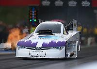 Jun 19, 2015; Bristol, TN, USA; NHRA funny car driver Tony Pedregon during qualifying for the Thunder Valley Nationals at Bristol Dragway. Mandatory Credit: Mark J. Rebilas-