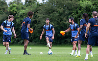 Paris Cowan-Hall plays a pass during the Wycombe Wanderers 2016/17 Pre Season Training Session at Wycombe Training Ground, High Wycombe, England on 1 July 2016. Photo by Andy Rowland / PRiME Media Images.