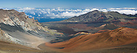 Overlooking the crate from the visitor center is a sweeping volcanic landscape profile representing Haleakala National Park on Maui in Hawaii USA