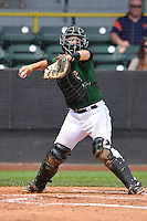 Clinton LumberKings catcher James Alfonso (12) throws during the Midwest League game against the Beloit Snappers at Ashford University Field on June 12, 2016 in Clinton, Iowa.  The LumberKings won 1-0.  (Dennis Hubbard/Four Seam Images)
