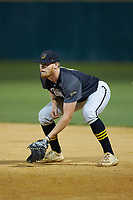 Wilson Tobs first baseman Chris Meyers (11) (University of Toledo) on defense against the High Point-Thomasville HiToms at Finch Field on July 17, 2020 in Thomasville, NC. The Tobs defeated the HiToms 2-1. (Brian Westerholt/Four Seam Images)
