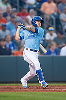 Omaha Storm Chasers Kyle Isbel (3) hits a double to right field during a game against the Iowa Cubs on August 14, 2021 at Werner Park in Omaha, Nebraska. (Zachary Lucy/Four Seam Images)