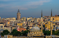 Fine Art Landscape Photograph of the Istanbul Skyline during a golden sunset on the Bosphorus Strait in Istanbul Turkey.