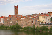 The village on the Agly river. Rivesaltes town, Roussillon, France