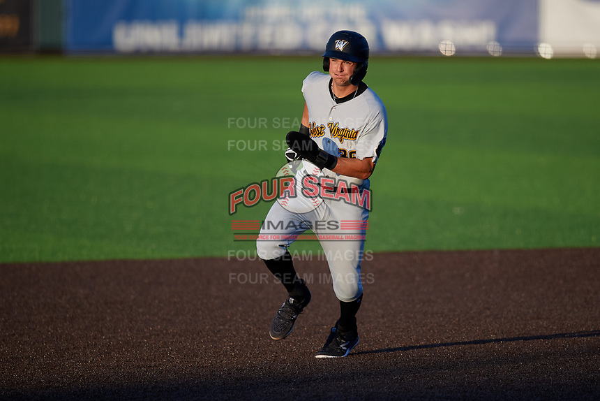 West Virginia Black Bears Matt Gorski (36) running the bases during a NY-Penn League game against the Auburn Doubledays on August 23, 2019 at Falcon Park in Auburn, New York.  West Virginia defeated Auburn 8-1, the first game of a doubleheader.  (Mike Janes/Four Seam Images)