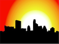 Austin Skyline Silhouette Illustration Graphic during early morning sunrise.