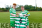 Killarney Celtic co captains Terry Sparling and Evan Looney with the cup and the jersey of their late teamate Niall McGillycuddy after winning the FAI Youth final Mounthawk Park between Killarney Celtic and Douglas Hill at Mounthawk, Tralee on Sunday.