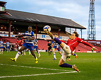 2nd April 2021, Oakwell Stadium, Barnsley, Yorkshire, England; English Football League Championship Football, Barnsley FC versus Reading; Callum Styles of Barnsley keeps the ball in play with volley back across the box