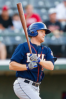 Dan Johnson #23 of the Durham Bulls follows through on his swing against the Charlotte Knights at Knights Stadium on August 2, 2011 in Fort Mill, South Carolina.  The Bulls defeated the Knights 18-3.   (Brian Westerholt / Four Seam Images)