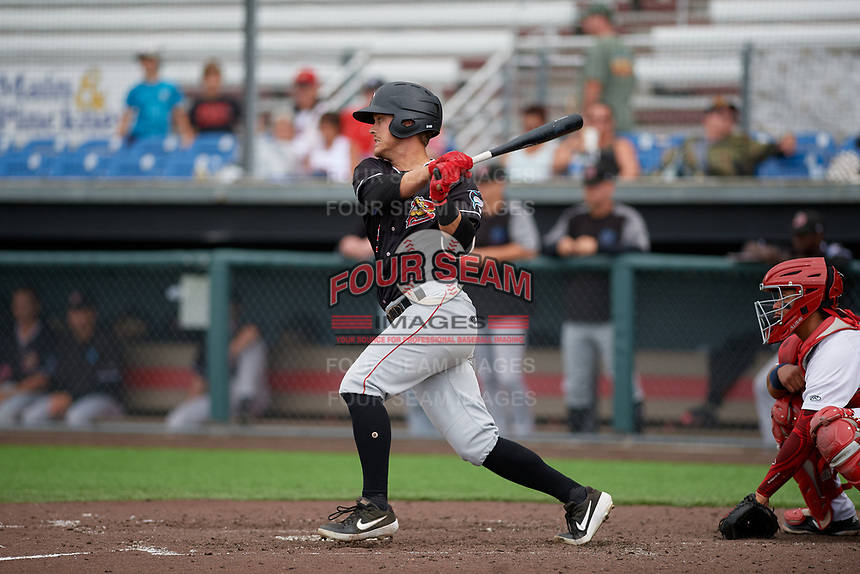 Batavia Muckdogs Andrew Turner (9) bats during a NY-Penn League game against the Auburn Doubledays on September 2, 2019 at Falcon Park in Auburn, New York.  Batavia defeated Auburn 7-0 to clinch the Pinckney Division Title.  (Mike Janes/Four Seam Images)