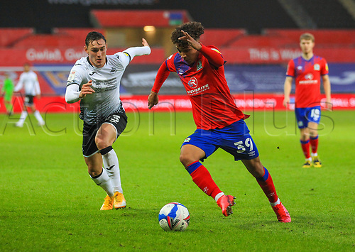 31st October 2020; Liberty Stadium, Swansea, Glamorgan, Wales; English Football League Championship Football, Swansea City versus Blackburn Rovers; Tyrhys Dolan of Blackburn Rovers looks to get past Connor Roberts of Swansea City