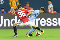 Houston, TX - Thursday July 20, 2017: Matteo Darmian, Brahim Diaz during a match between Manchester United and Manchester City in the 2017 International Champions Cup at NRG Stadium.