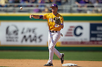 LSU Tigers second baseman JaCoby Jones #23 makes a throw to first base against the Auburn Tigers in the NCAA baseball game on March 24, 2013 at Alex Box Stadium in Baton Rouge, Louisiana. LSU defeated Auburn 5-1. (Andrew Woolley/Four Seam Images).