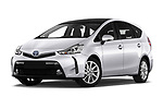 Stock pictures of low aggressive front three quarter view of 2018 Toyota Grand-Prius+ business-plus 5 Door Mini Mpv Low Aggressive