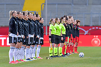 line-up team Germany nearby pictured during a friendly female soccer game between the national teams of Germany and  Belgium , called the Red Flames  in a pre - bid tournament called Three Nations One Goal with the national teams from Belgium , The Netherlands and Germany towards a bid for the hosting of the 2027 FIFA Women's World Cup , on Sunday 21 st of February 2021  in Aachen , Germany . PHOTO SPORTPIX.BE   SPP   STIJN AUDOOREN