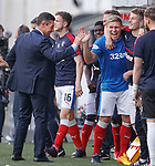Pedro Caixinha and the Rangers bench celebrate as they steal the points at the death