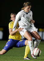 Cat Whitehill fights to hold the ball at the VRS Antonio Stadium in VRS Antonio, March 12, 2007, during the Algarve Women´s Cup soccer match between USA and Sweden. USA won 3-2.