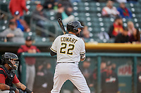 Kaleb Cowart (22) of the Salt Lake Bees bats against the Sacramento River Cats at Smith's Ballpark on April 19, 2018 in Salt Lake City, Utah. Salt Lake defeated Sacramento 10-7. (Stephen Smith/Four Seam Images)