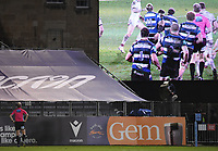 19th February 2021; Recreation Ground, Bath, Somerset, England; English Premiership Rugby, Bath versus Gloucester; Referee Wayne Barnes considers a replay looking for illegal play