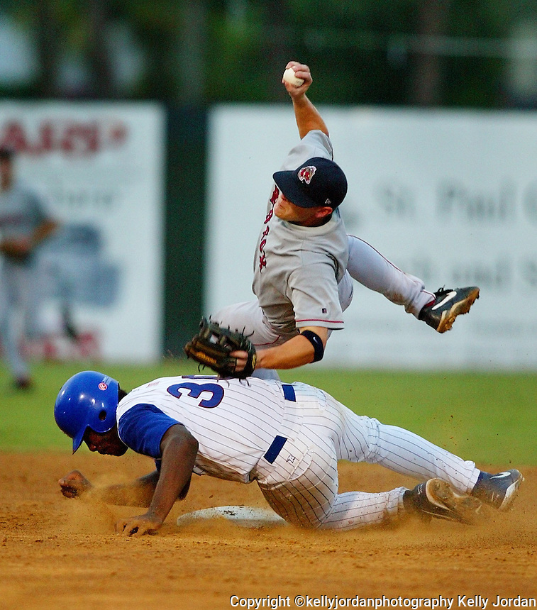 Daytona Cubs Mike Mallory, (30), slides into second and draws the interference call as he breaks up a double play by Sarasota Red Sox infielder Eric Shanks, (20) in the late innings of the first game of a double-header at Jackie Robinson Ballpark Thursday night, July 31, 2003.(Kelly Jordan)..