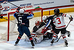 December 14, 2019:  Amanda Kessel [#28 hidden] scores the go-ahead goal as team USA defeated Canada 4-1. The feisty opening game of a five-match series took place at the XL Center in Hartford, Connecticut. Heary/Eclipse Sportswire/CSM