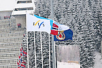 HOLMENKOLLEN, OSLO, NORWAY - March 16: FIS flag during the cross country 15 km (2 x 7.5 km) competition at the FIS Nordic Combined World Cup on March 16, 2013 in Oslo, Norway. (Photo by Dirk Markgraf)