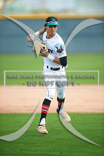 Bryce Daniel (1) of Providence Day High School in Matthews, North Carolina during the Under Armour All-American Pre-Season Tournament presented by Baseball Factory on January 14, 2017 at Sloan Park in Mesa, Arizona.  (Mike Janes/Mike Janes Photography)