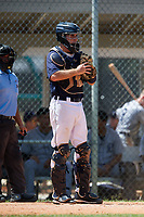 GCL Tigers East catcher David Noworyta (39) in front of home plate umpire Mickey Smith during a game against the GCL Tigers West on August 8, 2018 at Tigertown in Lakeland, Florida.  GCL Tigers East defeated GCL Tigers West 3-1.  (Mike Janes/Four Seam Images)