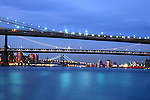 BROOKLYN,WILLIAMSBURG,MANHATTAN BRIDGES AT DUSK