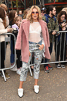Tallia Storm<br /> arrives for the Topshop Unique AW17 show as part of London Fashion Week AW17 at Tate Modern, London.<br /> <br /> <br /> ©Ash Knotek  D3232  19/02/2017