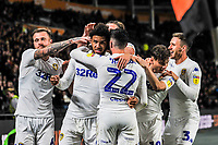 Leeds United celebrate going 1-0 up during the Sky Bet Championship match between Hull City and Leeds United at the KC Stadium, Kingston upon Hull, England on 2 October 2018. Photo by Stephen Buckley/PRiME Media Images.