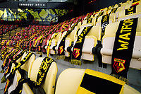 General view of Watford FC scarves draped over seats during the Sky Bet Championship match between Watford and Luton Town at Vicarage Road, Watford, England on 26 September 2020. Photo by David Horn.