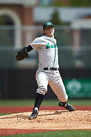 Marshall Thundering Herd starting pitcher Parker Danciu (18) in action against the Charlotte 49ers at Hayes Stadium on April 23, 2016 in Charlotte, North Carolina. The Thundering Herd defeated the 49ers 10-5.  (Brian Westerholt/Four Seam Images)