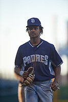 AZL Padres 1 shortstop CJ Abrams (8) jogs off the field between innings of an Arizona League game against the AZL Cubs 1 on July 5, 2019 at Sloan Park in Mesa, Arizona. The AZL Cubs 1 defeated the AZL Padres 1 9-3. (Zachary Lucy/Four Seam Images)