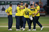 Hampshire players celebrate the run out of Tom Westley during Essex Eagles vs Hampshire Hawks, Vitality Blast T20 Cricket at The Cloudfm County Ground on 11th June 2021