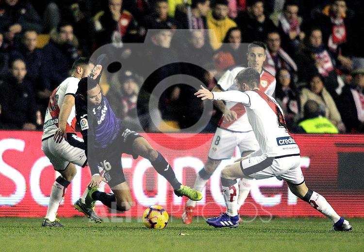 CD Leganes' Youssef En-Nesyri and Rayo Vallecano's Oscar Trejo and Alvaro Medran  during La Liga match. February, 04,2018. (ALTERPHOTOS/Alconada)