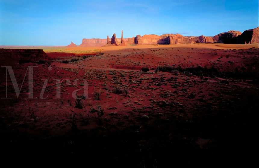 Panorama of sand and rocks in Monument Valley, UT. Monument Valley, Utah.